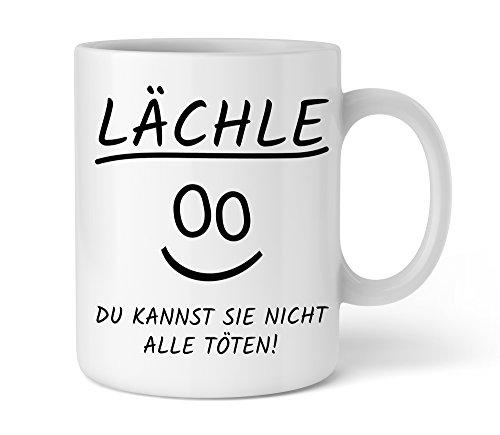 Shirtinator Tasse mit lustigem Spruch Lächle du kannst sie nicht all töten beidseitig bedruckt Keramik 325 ml Geschenkideen Geburtstag Kaffee Tassen Geschenke Beste Freundin -