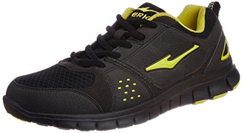 Erke Men's  Black and Apple Green Mesh Badminton Shoes - 6.5 UK