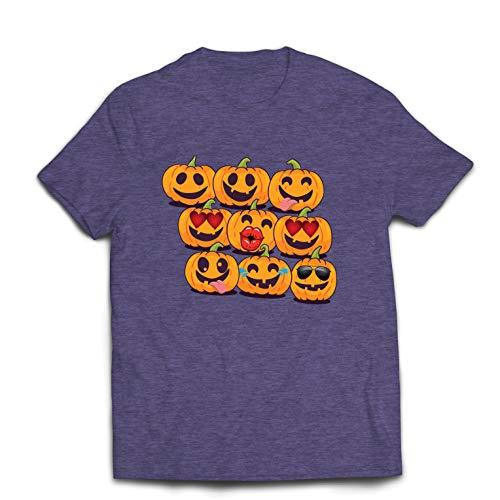 lepni.me Männer T-Shirt Kürbis Emoji Lustiges Halloween-Party-Kostüm (Medium Heidekrautgrau Mehrfarben)