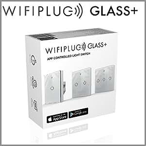 Interrupteur intelligent Wifiplug WPGLASS3 en verre pour Amazon Alexa, Google Home et IFTTT, blanc