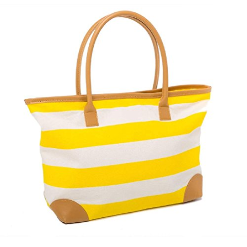Summer Bag Canvas Beach Bag Striped Nautical Tote Shopper for Ladies (YELLOW)