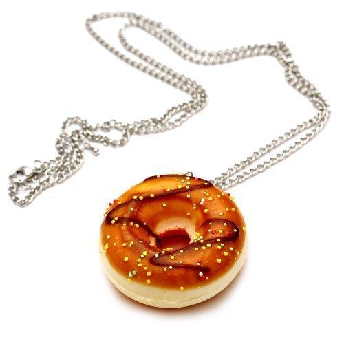 Donut mit Zuckerguss Glasur Halskette - ca. 70cm lange Kette - Doughnut Anhänger Zucker Streusel (Donut Kostüme Erwachsene)