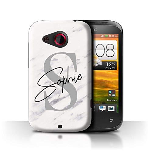 eSwish Personalisiert Individuell Marmor Initialen Handschrift Hülle für HTC Desire C/Weiß Silber Anthrazit Buchstabe Design/Initiale/Name/Text Schutzhülle/Case/Etui (Buchstabe C Stuff)
