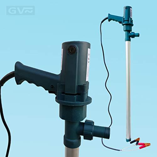 GV Pumpentechnik Fasspumpe DFP380-12 für Diesel, Heizöl, Adblue und Wasser - 380W - 100 l/Min - 6000 l/h - Aluminium Saugstab - 100% selbstansaugend (Wasser Fasspumpe)