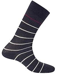 KINDY - Mi-chaussettes rayures en coton - couleur - Anthracite - Pointure - 39-42