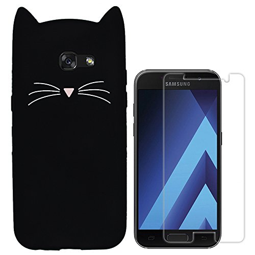 Hcheg Hülle für Samsung Galaxy A5 (2017) - 3D Silikon Backcover Case Handy Schutzhülle - Cover klar Katze Design Schwarz Weiß + 1X Screen Protector
