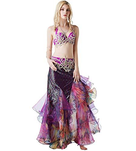 Von Kostüm Tribal Indien - NANXCYR Bauchtanz Rock Kostüm Halloween Tribal Chiffon Dance Outfit Bollywood Kleid Langen Rock Diamant Perlen BH Zweiteilige Lob Tanzkleider für Frauen,L