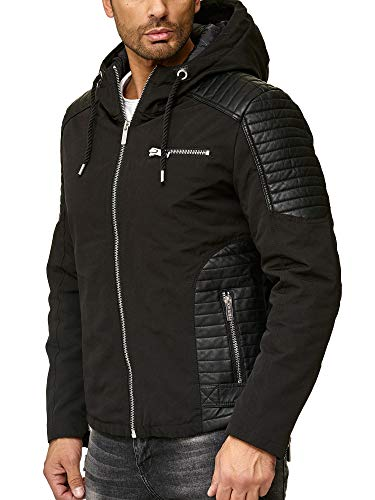 Redbridge uomo giubbotto transizione biker casuale finta pelle giacca con cappuccio