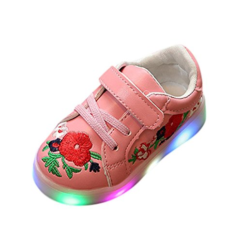 LED Light Luminous Schuhe - cinnamou Kleinkind Kinder Skate Stitchwork Floral Baby Schuhe - Sport Outdoor Sneakers (Große Tier-hausschuhe)