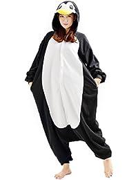 YARBAR Kigurumi Pijamas Unisexo Adulto Traje Disfraz de Halloween Animal Pyjamas Negro pingüino