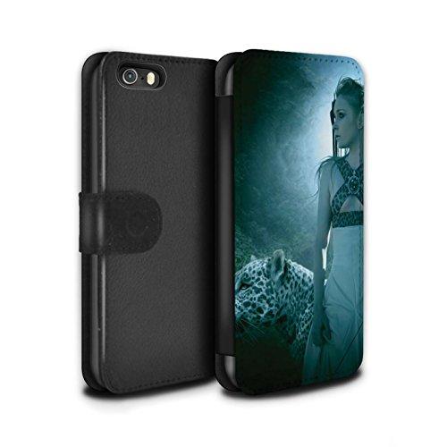 Officiel Elena Dudina Coque/Etui/Housse Cuir PU Case/Cover pour Apple iPhone 5/5S / Pack 16pcs Design / Les Animaux Collection Félins/Léopard/Guerrier