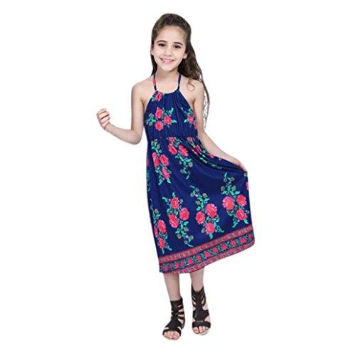 (Binggong Kleid Kleid Damen,Binggong Mom & Me Lady Frauen Mutter Kleid Floral Familie Kleid Straps Strand Sommerkleid Kleidung Mädchen Festliche Kleider Kleid für Mutter Tochter (140 CM, Dunkelblau))