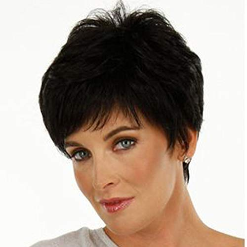 SIOPEW Perücke damen Fashion Synthetic Naturally Realistic Schwarze Kurze Glatte Haare ()