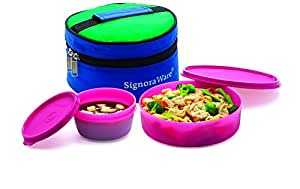 Signoraware New Classic Small Plastic Lunch Box with Bag, 550ml, Pink