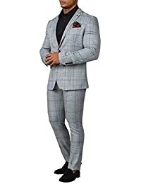 3d542b6fd Avail London Mens Black and White 2 Piece Suit Muscle Fit Stretch Notch  Lapel Prince of