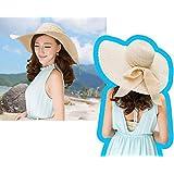 Women Beach Hat Summer Bowknot Beach Hat Straw Wide Brim Hat