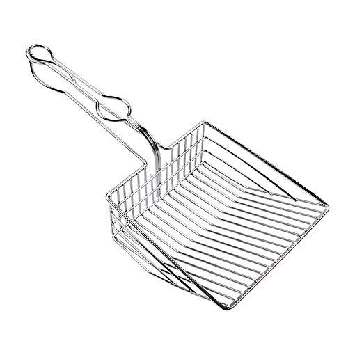OTENGD Katzenstreu-Schaufel Schnell zum Reinigen Einer Katzentoilette Leichtes Durchsieben von Ganzmetall mit Antihaft-Schaufel mit langem Griff Aufbewahrungshakenhalter Silber -