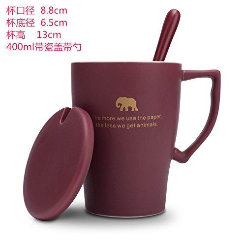 Yomiokla Compacto de alta capacidad de taza de cerámica con tapa de...