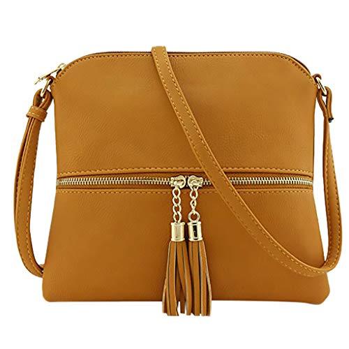 Frauen Leder Quaste Umhängetasche Pure Color Schultertasche Messenger Bag Geldbörsen und Handtaschen für Frauen Damen Umhängetasche Fashion Totes für Mädchen