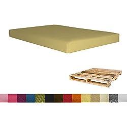 Arketicom Pallett-One, asiento cojín para sofá Euro Pallet en varias medidas y colores, poliuretano alta densidad HD mezcla de algodón para terrazas y jardines. 1000% Made in Italy, Canapa, 80x60x10