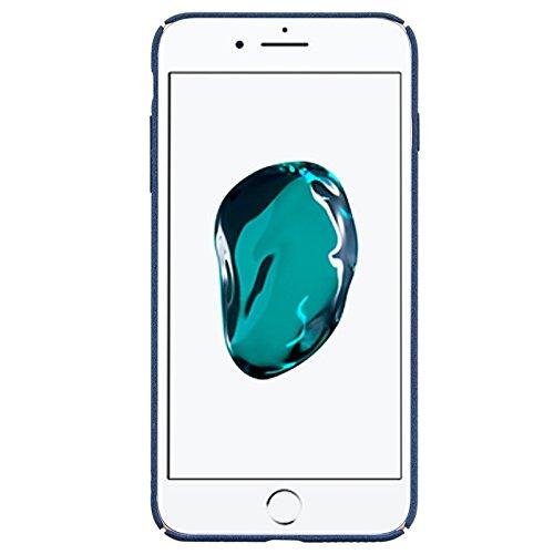 iPhone 7 Hülle, Yokata PC Hart Case Gefrostet Plastik mit Ring Fingerhalterung Kickstand Holder Support Schale Dünn Case Schutzhülle Protective Cover + 1 x Kapazitive Feder Navy Blau