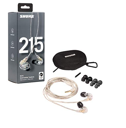 Shure SE215-CL Professionellen Ohrhörer mit Sound IsolatingTM Design, dynamischem MicroDriver und transparentem Kabel mit 3,5-mm-Klinke für transparenten Klang mit tiefen Bässen - 5