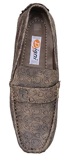 Digni Mocassins Hommes Slip On Chaussures Casual Lazy Flats Shoes Mocassins confortables Brown (Conception # 1)