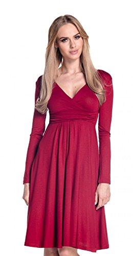 Glamour Empire Damen Ausgestellter Schnitt Kleid Jersey Shirtkleid Langarm 890 Crimson