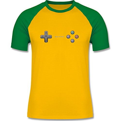 Nerds & Geeks - Play me nice - zweifarbiges Baseballshirt für Männer Gelb/Grün