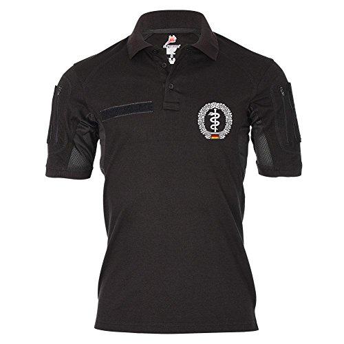 Tactical Poloshirt Alfa Barettabzeichen Sanitätstruppe BW Sani Wappen Abzeichen Emblem Dienst Hemd Polo #19386, Größe:L, Farbe:Schwarz (T-shirt Schwarz Emblem)