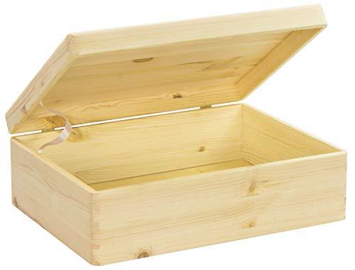 LAUBLUST Große Holzkiste mit Deckel - 40x30x14cm, Natur, FSCu00ae | Allzweck-Kiste aus Holz - Aufbewahrungskiste | Geschenk-Verpackung | Deko-Kasten zum Basteln | Spielzeug-Truhe | Erinnerungsbox