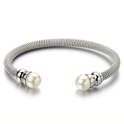 COOLSTEELANDBEYOND Elastische Verstellbare Edelstahl Damen-Armband Verdrehten Stahlkabel Armreif mit Synthetische Perle -