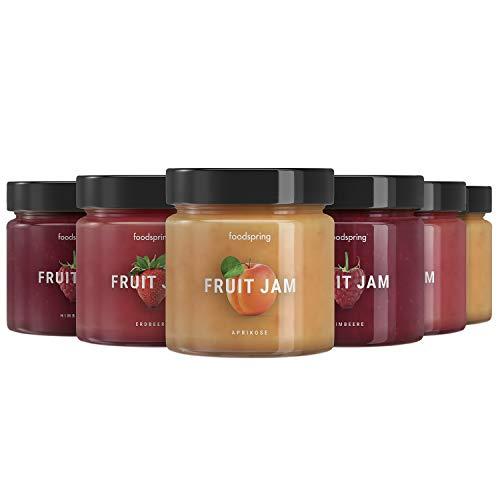 foodspring Fruit Jam, 6 x 220g, Erdbeere, Aprikose und Himbeere, Fruchtaufstrich ohne Zuckerzusatz -