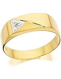 F.Hinds Mens 9ct Yellow Gold Gentleman's Diamond Set Signet Ring Jewellery