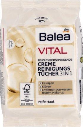 Balea VITAL Feuchtigkeitsspendende Creme-Reinigungstücher, 1 x 25 St, Vegan