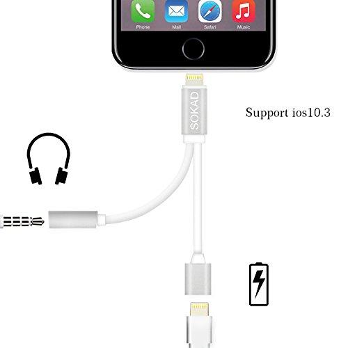 iPhone 7/7Plus Adapter Splitter, 2in 1Lightning Ladekabel Port Verlängerungskabel, 3,5mm AUX Kopfhörer Jack Audio Adapter für Apple Geräte, kompatibel mit iOS 10,3, keine Musik Kontrolle
