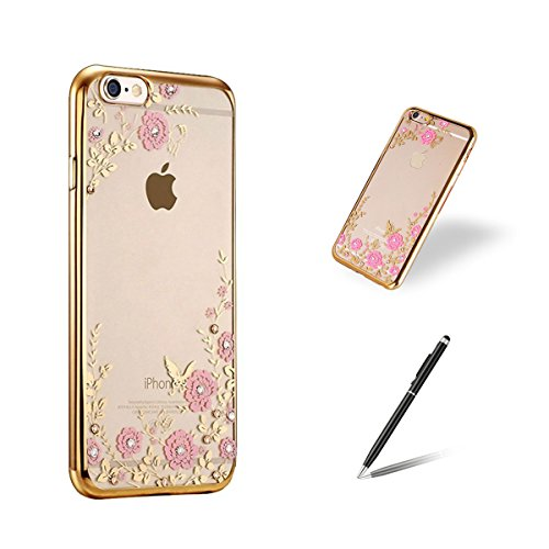 Feeltech Apple Iphone 6/6s 4.7 Inch Custodia,Trasparente Silicone TPU Sottile Con Strass In Cristallo Bling Corpo Case Scintillio Di Lusso Scintillante Diamante Copertina Caso Morbido Copertura Per Ap Oro Rosa Alcanna