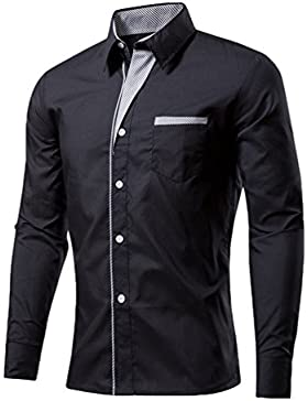 Sentao Uomo Moda Camicie Manica Lunga Striscia Scollatura Shirts Slim Fit Casual