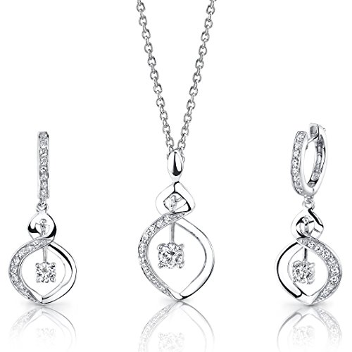 Revoni Refined Grace: Sterling Silver Pendant Necklace Earrings Set with CZ Diamonds