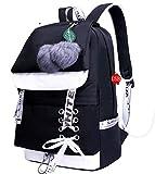 Asge Femme Sac à Dos Unisexe Loisir Backpack Garçons école Sacs Filles Mignon Cartable Nylon Imperméable Daypacks Adulte Fashion Décontracté Bag College Pack (Noir)
