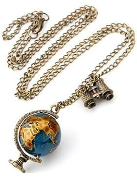 Frost©Vintage Antique Bronze Globe Metall 39X23mm Bronze Globus Anhänger Collier Halskette Kette TOP Trend