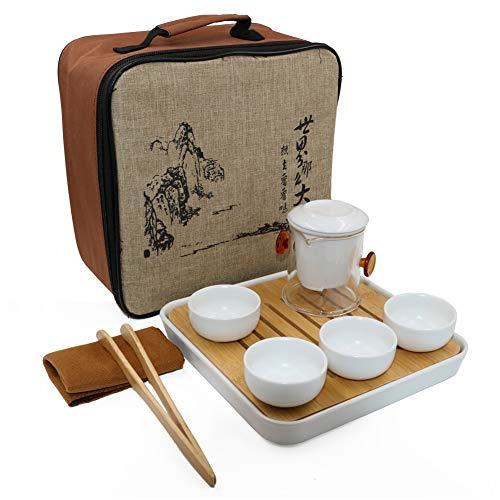 u Tee Set Handgemachte chinesische/japanische Vintage, Porzellan - 4 Teetassen & Tee Filter (Weiß) ()