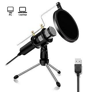 USB PC Mikrofon Kondensator Mikrofon, NASUM, podcast Microfon, Computer Standmikrofon Aufnahmemikrofon Microphone für studio Aufnahmen Skype YouTube mit Ständer und Popschutz (Windows/Mac)