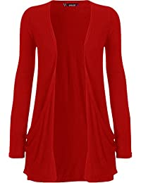 "WearAll - ""pocket"" cardigan à manches longues - Hauts - Femme - Rouge - 44-46"