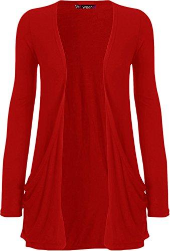 WearAll - Damen langarm Cardigan mit taschen - Rot - 36-38