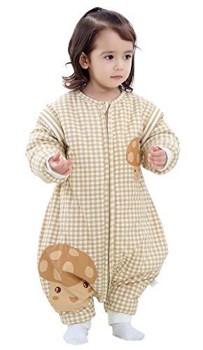 Chilsuessy Baby Winter Schlafsack 2.5 Tog Babyschlafsack Strampler wattiert Schlafsäcke mit Füssen abnehmbar Ärmel Schlafanzug Kinder Warm Schlafsack(XL/Koerpergroesse 85-95cm, Braun/3.5 Tog Verdickt)
