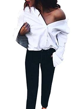 HARRYSTORE Otoño Mujer Atractivo V cuello Blusa camisa de manga larga Loose Puro blanco Tops