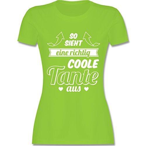Shirtracer Schwester & Tante - So Sieht eine Richtig Coole Tante Aus - Damen T-Shirt Rundhals Hellgrün