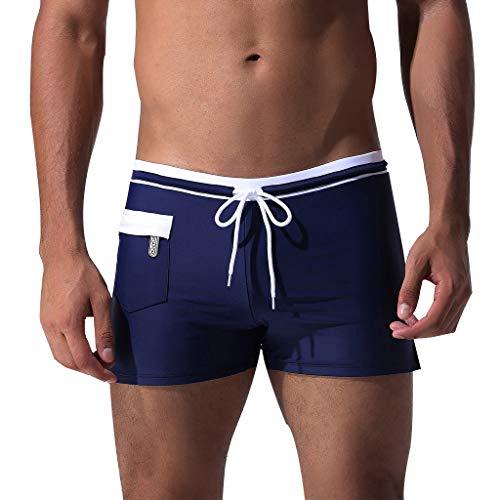 XuxMim Herren Breathable Trunks Pocket Pants Kordelzug Quick Dry Beach Shorts Bademode(Marine,X-Large)