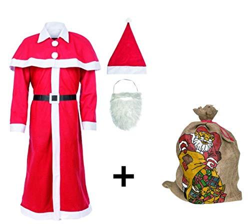(Idena 8580108 Weihnachtsmann Kostüm (Rot/Weiß/Schwarz, mit Jutesack))